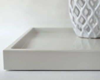 Light Gray Shallow Decorative Tray, Lacquered Wood Serving Tray, Coffee Table Tray