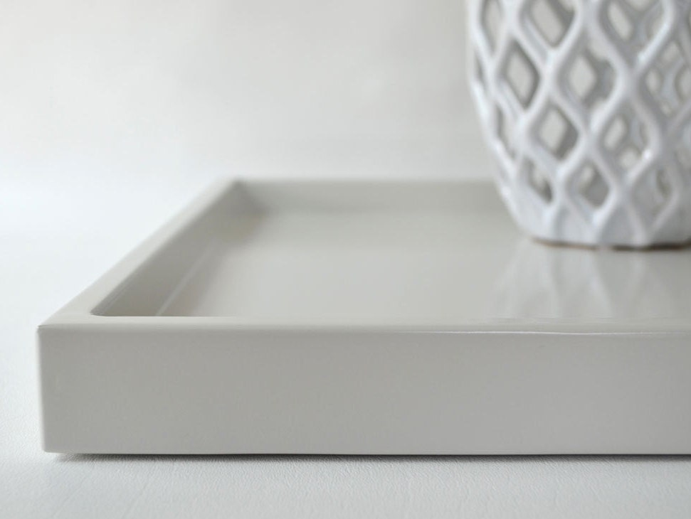 Light gray shallow decorative tray lacquered wood serving for Shallow coffee table