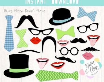 Daper PhotoBooth Props - Printable Instant Download - Moustache, Lips, Glasses, Ties, Bow ties & Hats