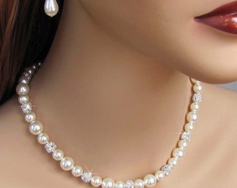 Bridal Necklace, Pearl and Rhinestone Necklace, White, Ivory, For The Bride, Wedding Necklace, Rhinestone and Pearl, Bridal Pearls, Weddings