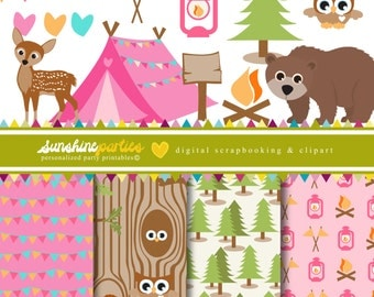 Girls Camping Party Clipart and Digital Paper Set - Camp Out - Glamping Printables - Set of 17 - Instant Download