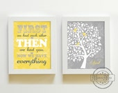 Yellow Gray Nursery Art - Nursery Quote and Tree Prints Set of Two Wall Art ,Girls Room Decor ,Bathroom Art