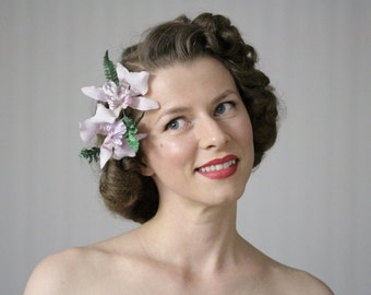 "Orchid Hair Clips, Lavender Hair Accessories, 1950s Flower Fascinator, Vintage Headpiece, Light Purple - ""Moonlight Cocktail"""