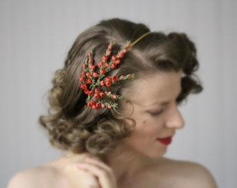 "Red Flower Headband, Floral Hair Accessory, 1950s Headpiece, Vintage Hairpiece, Wedding Fascinator - ""Heather Fields Aflower"""