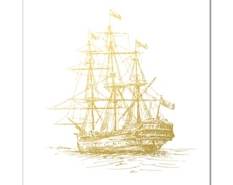 Nautical Print, Old Ship in Metallic Foil, Gold Foil Print, Nautical Ship Art, Nautical Decor, Boat Illustration, Sailboat, Gold Wall Art