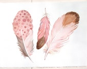 Pale pink feathers painting. Watercolor paintings original. Watercolor feathers. Feather illustration/ Nursery art/ Home decor