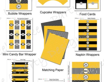 Yellow Soccer Party Pack - Printable - Instant Download
