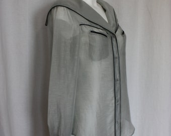"""Gray sheer blouse tailored  sailor collar front pockets long cuffed sleeves summer fashion chest 36 """""""