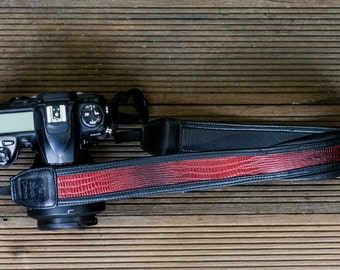 Leather DSLR Camera Strap - Dragon Red