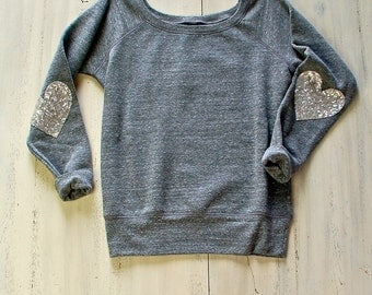 Valentines Day Shirt. Heart on My Sleeve. Sequin Heart Elbow Patch Sweatshirt Jumper. Slouchy Wide Neck Off the Shoulder Pinterest Tumblr