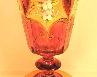 Wine Glass Moser Art Glass Footed 8 Panel Antique Gold Gilded and Enamel Decorated