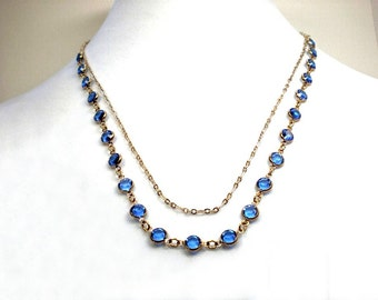"""Blue chain necklace - two strand channel chain, gold & blue necklace, bezel set glass chatons, 21""""  fashion necklace, adjustable jewelry"""