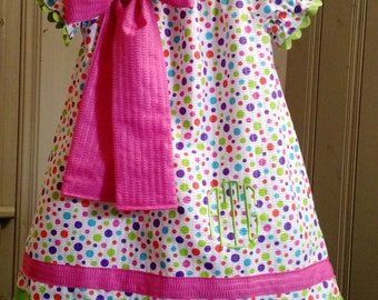 Polka Dot Peasant Dress
