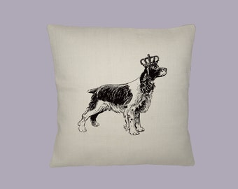 Royal Crowned Springer Spaniel Dog with Crown Vintage Illustration Pillow Cover 16x16 - Choice of fabric, Image in ANY COLOR