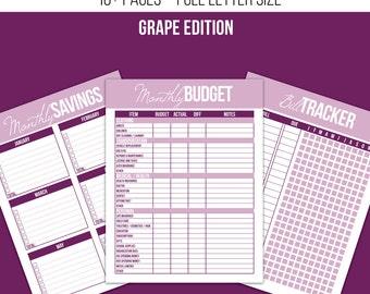 Finance Printable Kit - Grape Edition