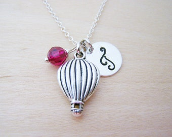 Hot Air Balloon Charm Necklace -  Swarovski Birthstone Initial Personalized Sterling Silver Necklace / Gift for Her - Balloon Necklace