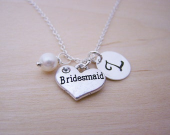 Bridesmaid Heart Charm Necklace -  Swarovski Birthstone Initial Personalized Sterling Silver Necklace / Gift for Her - Bridemaid Charm