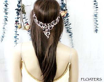 Purple Wedding Headpiece, Wedding Headband, Purple Hair Jewelry, Bridal Headpiece, Bridal Hair Jewelry