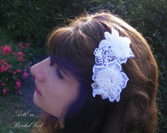 Bridal  lace headdress, lace hair ornament, wedding hairpiece, white beads, 3 D lace, decorative comb