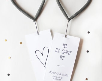 25, Sparkler Send off Tags with a Heart Detail on the Back