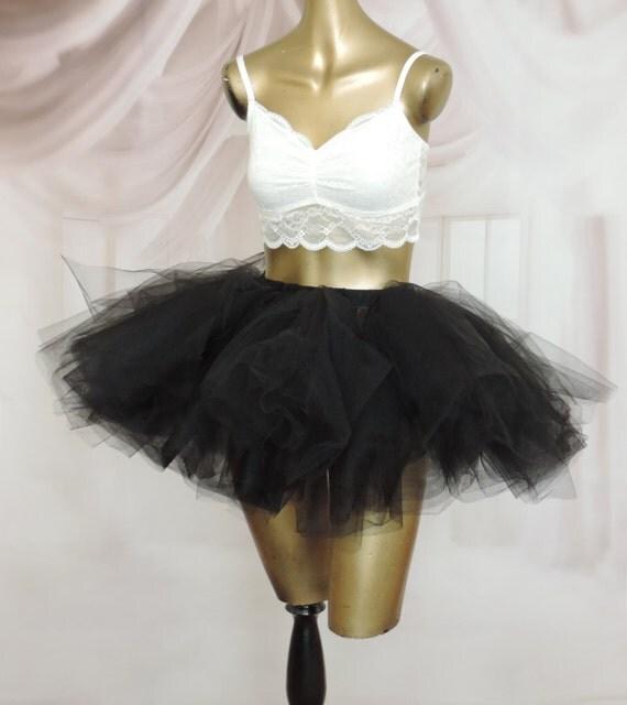 womens tulle skirt tutu skirt black tulle skirt edc edm