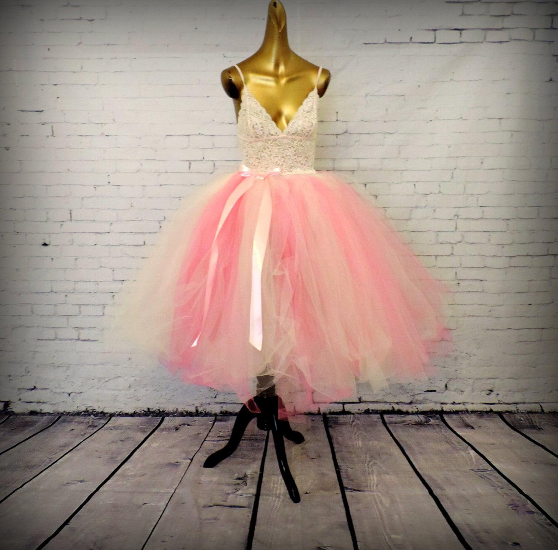 Tulle skirt for women tea length bridal wedding pink by for Tea length wedding dress tulle skirt