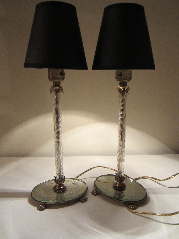 Vanity Lamps Vintage : Vintage Glass Boudoir Candlestick Vanity Lamps / 1940s / Retro