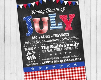 Fourth of July Invitation | 4th of July Invitation | 4th of July | Custom Digital Invitation