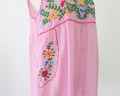 Mexican Embroidered Blouse Cotton SleevelessTop In Pink, Boho Blouse, Hippie Top