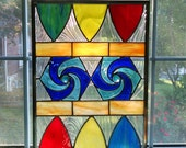 Geometric Stained Glass Panel - Rainbow Stained Glass Window - Circus Carnival - Abstract Art - Geometric Art - Garden Art - Privacy Screen