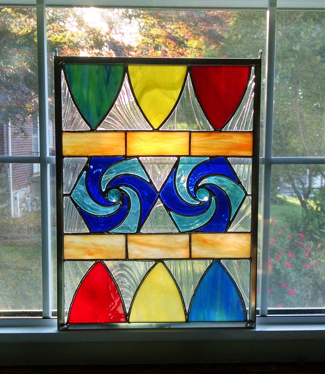 Geometric Stained Glass Panel Rainbow Stained Glass Window