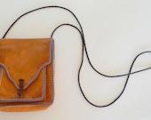 Vintage Leather Tan Boho Shoulder Bag 1970s Scandinavian Long Strap