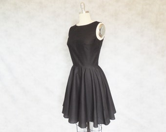 Audrey Dress - Black Classic Vintage Inspired Breakfast at Tiffany's Full Circle Skirt