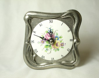 Vintage French Hand Painted LImoges and Pewter Clock. Made In France and Marked!