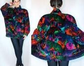 Vintage 80s ESCADA Velvet Neon Rainbow Psychedelic Bomber Jacket. Avant Garde Oversized Floral Animal Print Mini Dress Coat. Small - Medium.