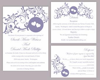 DIY Wedding Invitation Template Set Editable Word File Download Printable Purple Invitation Eggplant Wedding Invitation Heart Invitation