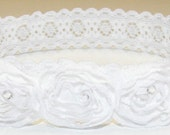 Glitzy Rose Headband White Shabby Flowers Embellished Baby Girls Accessories Wedding Party Christening Baptism Blessing Pageant Photo Prop