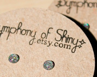 Holographic Shimmer Tiny stud earrings 4mm sparkly post earrings - hypoallergenic surgical steel stud earrings - 4mm Teeny tiny 0.16 inch