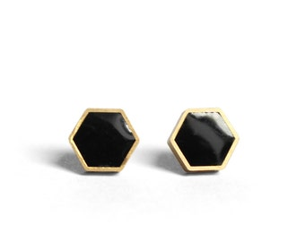 Hexagon stud earrings Onyx black with hypoallergenic surgical steel posts 8mm wide brass framed hexagon earrings in onyx black