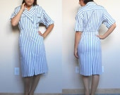 Vintage 60's Classic Dress // Vertical Grey and White Stripes / Size 3/4