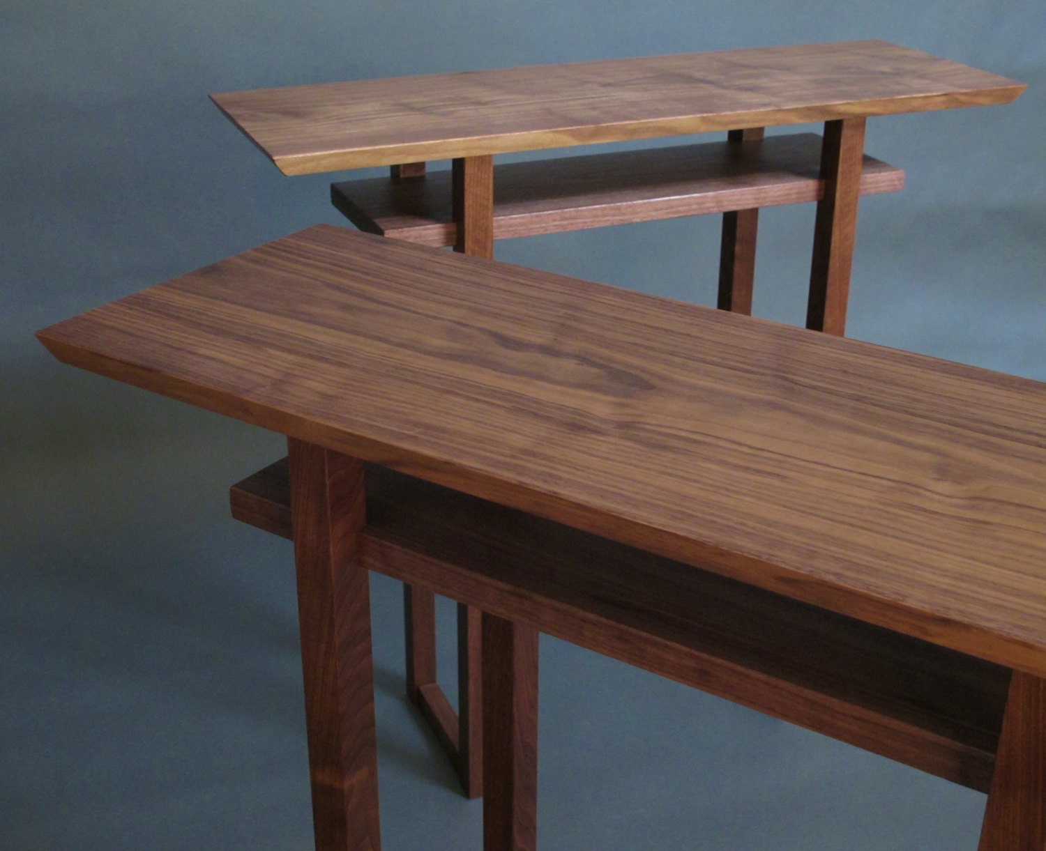 a pair of narrow walnut console tables wood entry tables for. Black Bedroom Furniture Sets. Home Design Ideas