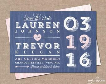 Rustic Modern Save the Date Postcard // DIY Printable Save the Date, Modern Rustic Wedding // Navy and Pink Wedding Invitation