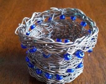 Beaded Copper Wire Basket