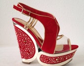 RESERVED for Danielle Amazing Red and Gold Platform Wedges size 7.5