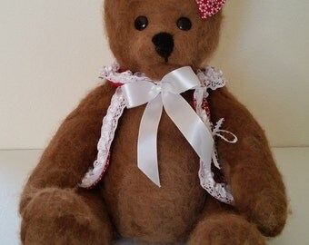 "Brown Teddy Bear Needle Felted Alpaca 18"""