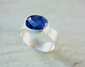 Blue Rose Cut Sapphire Ring Rose Cut Blue Sapphire Ring Sterling Silver Blue Sapphire Ring Size 9-10 Silversmithed Metalsmithed