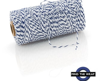 "Navy Blue "" Blueberry"" Bakers Twine - 240 yard spool - 100% Cotton - Blue and White Stripe Divine Twine Made in the USA - Biodegradeable"