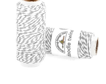 """Doodlebug """"Gray"""" Bakers Twine - 20 yards Grey & White - 100% Cotton - Craft Supply Gift Wrap String for Tags Banners Card-making"""