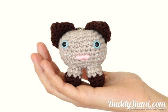 Siamese kitty cat amigurumi crochet keychain bag by BuddyRumi