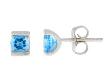 0.50 Ct Natural Blue Topaz Stud Earrings .925 Sterling Silver